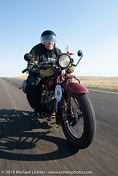 Bartek Mizerski riding his 1928 Indian Scout in the Motorcycle Cannonball coast to coast vintage run. Stage 9 (294 miles) from Pierre to Sturgis, SD. Sunday September 16, 2018. Photography ©2018 Michael Lichter.