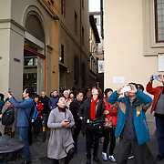 FLORENCE, ITALY - OCTOBER 31: <br /> Early morning tourists photograph the exterior of Florence's Cathedral, Basilica di Santa Maria del Fiore, known as Duomo in Florence, Italy. The Duomo is the main church of the city of Florence. Construction was started in 1296 in the Gothic style with the structure completed in 1436. The famous dome was designed by Arnolfo di Cambio and engineered by Filippo Brunelleschi. Florence, Italy, 31st October 2017. Photo by Tim Clayton/Corbis via Getty Images)
