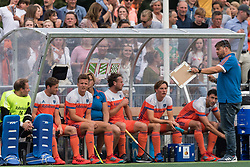 coach Max Caldas of The Netherlands give instructions to his players during the Champions Trophy match between the Netherlands and France on the fields of G.H.C. Rapid on June 15th, 2018 in Gorinchem, The Netherlands.