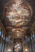 The Painted Hall at the Old Royal Naval College in Greenwich on the 25th September 2019 in South London in the United Kingdom. The Painted Hall, completed in 1727, is the centrepiece of the Old Royal Naval College. Designed by Sir Christopher Wren as a ceremonial dining room for what was then the new Royal Hospital for Seaman.