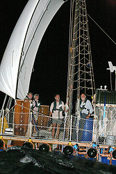 05 April 2011. St Maarten, Antilles, Caribbean.<br /> L/R; Dr Andrew Bainbridge, John Russel, David Hildred and Anthony Smith are all smiles as he draws close to shore for the first time in 9 weeks.<br /> After more than 9 weeks at sea, having started in the Canary islands, the 'Antiki' transatlantic raft gets set to arrive in St Maarten in the Caribbean following an epic voyage. The incredible vessel is crewed by Anthony Smith (84 yrs old) British adventurer, David Hildred, sailing master and British Virgin Islands resident, Dr Andrew Bainbridge of Alberta, Canada and John Russell, solicitor and UK resident.<br /> Photo; Photo; Charlie Varley/varleypix.com