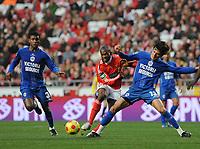 20090117: LISBON, PORTUGAL - SL Benfica vs Belenenses: Portuguese League Cup 2008/2009. In picture: David Suazo (Benfica) and Rodrigo Arroz (Belenenses). PHOTO: Alvaro Isidoro/CITYFILES