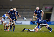 Sale Sharks Faf De Klerk off-loads the ball during a Gallagher Premiership Round 9 Rugby Union match, Friday, Feb 12, 2021, in Leicester, United Kingdom. (Steve Flynn/Image of Sport)