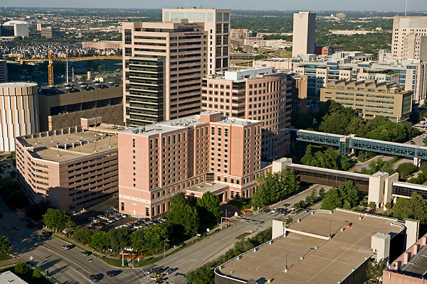 Aerial view of The Texas Medical Center in Houston featuring The Jesse H. Jones Rotary House International in the foreground.