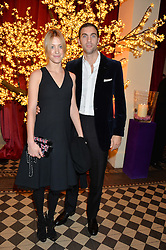 HUGH & ROSE VAN CUTSEM friends of the Duke & Duchess of Cambridge at the Sugarplum Dinner - The event was for the launch of Sugarplum Children, a new website and fundraising initiative for children who live with type 1 diabetes, and to raise money for JDRF (Juvenile Diabetes Research Foundation) held at One Mayfair, 13A North Audley Street, London on 20th November 2013.