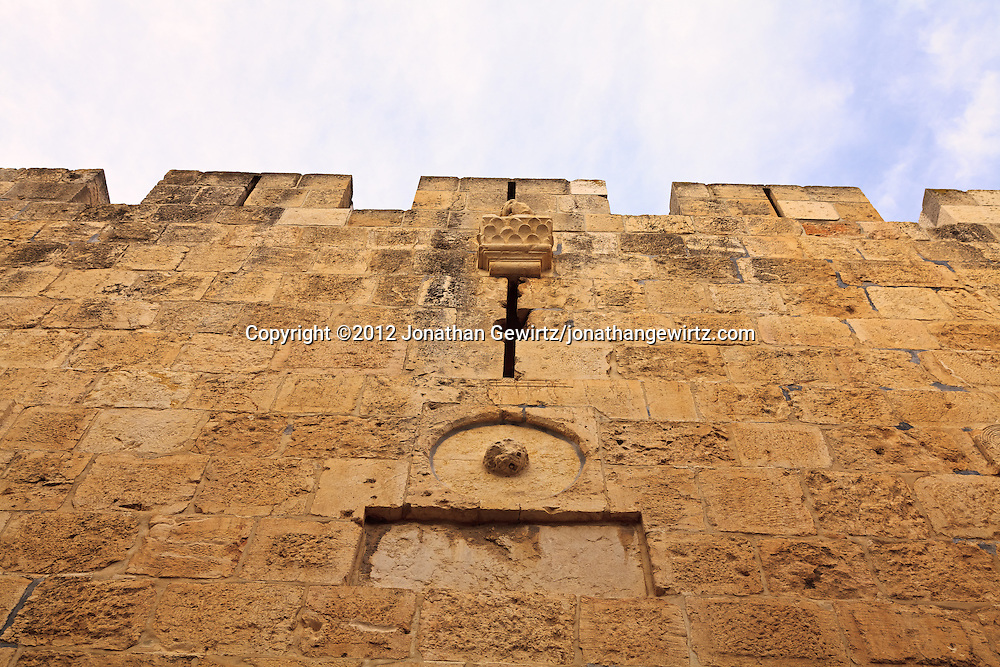 A section of the stone exterior wall of the Old City of Jerusalem.