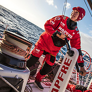 Leg 7 from Auckland to Itajai, day 02 on board MAPFRE, Sophie Ciszek trimming. 19 March, 2018.