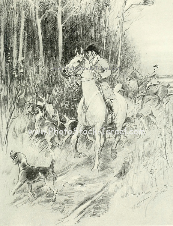 Now let your huntsman throw in his hounds as quietly as he can from the book The sport of our ancestors; being a collection of prose and verse setting forth the sport of fox-hunting as they knew it; by baron Willoughby de Broke, Richard Greville Verney, 1869-1923; and illustrated by Armour, G. D. (George Denholm),  Published in London by Constable and co. ltd. in 1921