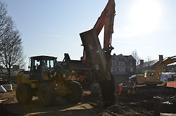 Earth Moving Activity with 2 Excavators, backlite. CCSU New Academic and Office Building. Contractor: Gilbane, Inc..