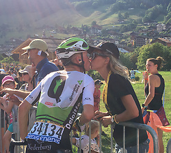 July 17, 2018 - Le Grand Bornand, FRANCE - Belgian Serge Pauwels of Dimension Data and his wife Ine Beyen pictured after the tenth stage in the 105th edition of the Tour de France cycling race, 112.5 km from Annecy to Le Grand Bornand, France, Tuesday 17 July 2018. This year's Tour de France takes place from July 7th to July 29th...BELGA PHOTO ANN BRAECKMAN - FRANCE OUT (Credit Image: © Ann Braeckman/Belga via ZUMA Press)