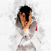 digitally enhanced, exaggerated and comic image of a young frightened woman hugging herself in fear studio shot on white background