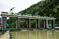Cyclists and hydroelectric power plant Faladuring 2nd Stage of 25th Tour de Slovenie 2018 cycling race between Maribor and Rogaska Slatina (152,7 km), on June 14, 2018 in  Slovenia. Photo by Vid Ponikvar / Sportida