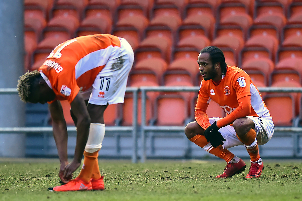 Blackpool's Nathan Delfouneso reacts at the end of the match<br /> <br /> Photographer Richard Martin-Roberts/CameraSport<br /> <br /> The EFL Sky Bet League One - Blackpool v Peterborough United - Sunday 18th February 2018 - Bloomfield Road - Blackpool<br /> <br /> World Copyright © 2018 CameraSport. All rights reserved. 43 Linden Ave. Countesthorpe. Leicester. England. LE8 5PG - Tel: +44 (0) 116 277 4147 - admin@camerasport.com - www.camerasport.com