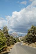 Road ahead with mountain on horizon, Gorges du Verdon, Verdon Natural Regional Park, France