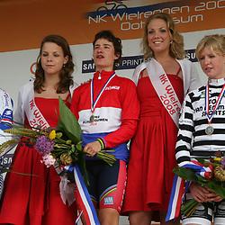 Sportfoto archief 2006-2010<br /> 2008<br /> Marianne Vos pakt in Ootmarsum de titel bij de vrouwen in 2008 voor Mirjam Melchers en Regina Bruins