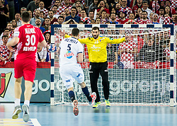 Nadim Remili of France vs Mirko Alilovic of Croatia during handball match between National teams of Croatia and France on Day 7 in Main Round of Men's EHF EURO 2018, on January 24, 2018 in Arena Zagreb, Zagreb, Croatia.  Photo by Vid Ponikvar / Sportida