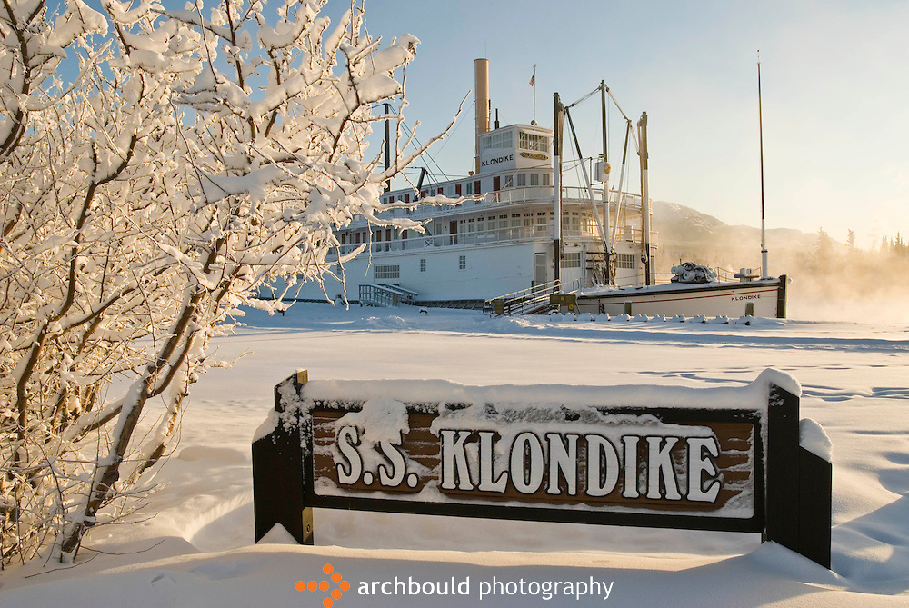 SS Klondike Sternwheeler in downtown Whitehorse sits drydocked in the snow.
