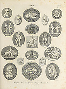 Antique Seals or Signets, Rings and Bracelets Gem - Art highly prized for its beauty or perfection Copperplate engraving From the Encyclopaedia Londinensis or, Universal dictionary of arts, sciences, and literature; Volume VIII;  Edited by Wilkes, John. Published in London in 1810.