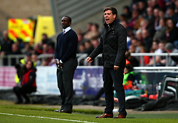 Bristol Rovers manager Darrell Clarke and Northampton Town manager Jimmy Floyd Hasselbaink - Mandatory by-line: Robbie Stephenson/JMP - 07/10/2017 - FOOTBALL - Sixfields Stadium - Northampton, England - Northampton Town v Bristol Rovers - Sky Bet League One