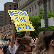 Protesters assemble at Foley Square in Lower Manhattan to rally and march due to the killing of George Floyd by a Minnesota Police Officer on Tuesday, June 2, 2020 in Lower Manhattan, New York.  A citywide 8 p.m. curfew was ordered by NY Mayor Bill de Blasio amid the Floyd protests. (Alex Menendez via AP)