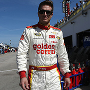 NASCAR Sprint Cup driver J.J. Yeley is seen in the garage area, during a NASCAR Daytona 500 practice session at Daytona International Speedway on Wednesday, February 20, 2013 in Daytona Beach, Florida.  (AP Photo/Alex Menendez)