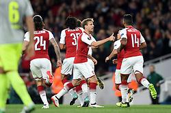 Nacho Monreal of Arsenal celebrates a goal from Sead Kolasinac - Mandatory by-line: Patrick Khachfe/JMP - 14/09/2017 - FOOTBALL - Emirates Stadium - London, England - Arsenal v Cologne - UEFA Europa League Group stage