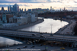 View of the Moscow River as it runs through the city of Moscow from the Kotelnicheskaya Embankment Building, one of the 7-sisters Stalinist structures around Moscow, Russia. Sunday April 23, 2017. Photography ©2017 Michael Lichter.