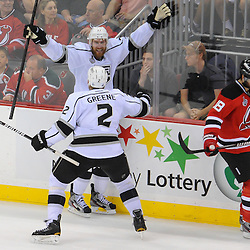 June 2, 2012: Los Angeles Kings center Jeff Carter (77) celebrates his game-winning goal during overtime action in game 2 of the NHL Stanley Cup Final between the New Jersey Devils and the Los Angeles Kings at the Prudential Center in Newark, N.J. The Kings defeated the Devils 2-1 in overtime.