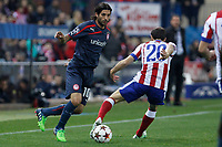 Atletico de Madrid´s Juanfran (R) and Olympiacos´s Alejandro Dominguez during Champions League soccer match between Atletico de Madrid and Olympiacos at Vicente Calderon stadium in Madrid, Spain. November 26, 2014. (ALTERPHOTOS/Victor Blanco)