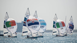 10.08.2012, Bucht von Weymouth, GBR, Olympia 2012, Segeln, im Bild Fantela Sime, Marenic Igor, (CRO, 470 Men).Marinho Alvaro, Nunes Miguel, (POR, 470 Men).Zandona Gabrio, Zucchetti Pietro, (ITA, 470 Men).Calabrese Lucas, de la Fuente Juan, (ARG, 470 Men) // during Sailing, at the 2012 Summer Olympics at Bay of Weymouth, United Kingdom on 2012/08/10. EXPA Pictures © 2012, PhotoCredit: EXPA/ Juerg Kaufmann ***** ATTENTION for AUT, CRO, GER, FIN, NOR, NED, .POL, SLO and SWE ONLY!