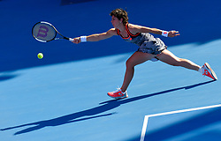 DOHA, Feb. 13, 2019  Carla Suarez Navarro of Spain hits a return during the women's singles first round match between Carla Suarez Navarro of Spain and Ons Jabeur of Tunisia at the 2019 WTA Qatar Open in Doha, Qatar, Feb. 12, 2019. Navarro won 2-0. (Credit Image: © Yangyuanyong/Xinhua via ZUMA Wire)