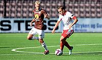 Fotball, 22. juli 2018 , OBOSligaen , 1. divisjon , Mjøndalen - Levanger 4-0<br /> Jo Sondre Aas , Levanger<br /> Jonathan Lindseth , MIF