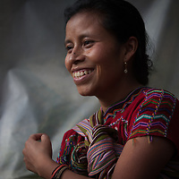 Juana Coria Chel, 24, mother of four, a Maya Ixil woman in Rio Azul, Nebaj, Guatemala. Juana takes part in an FRB-supported regional programme for food security and nutrition run by CWS through its partners CIEDEG in Guatemala, by CASM in Honduras, and by CIEETS and AMC in Nicaragua.<br /> <br /> Staff from CWS-partner organisations (CIEDEG in Guatemala, CASM in Honduras, AMC and CIEETS in Nicaragua) were meeting in Nebaj, Guatemala, to share experience and learning on food security and nutrition in the region. The woman takes part in a food production programme run by CIEDEG.