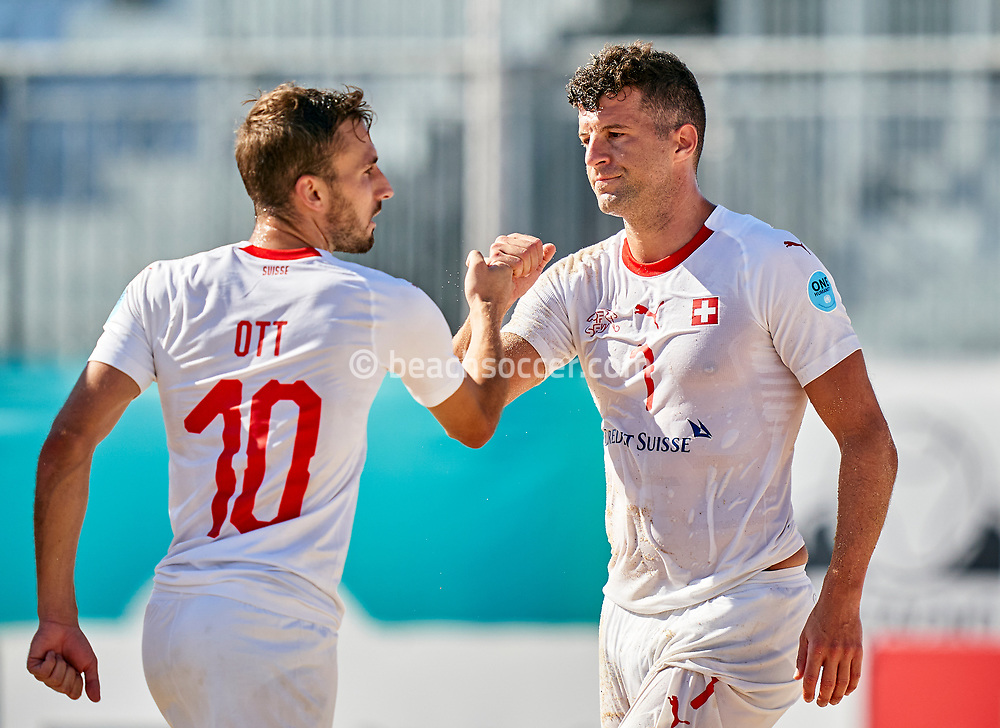 NAZARE, PORTUGAL - SEPTEMBER 4: Noel Ott of Switzerland and Sandro Spaccarotella of Switzerland during day 3 of the Euro Beach Soccer League Superfinal at Estadio do Viveiro on September 4, 2020 in Nazare, Portugal. (Photo by Jose Manuel Alvarez/BSWW)