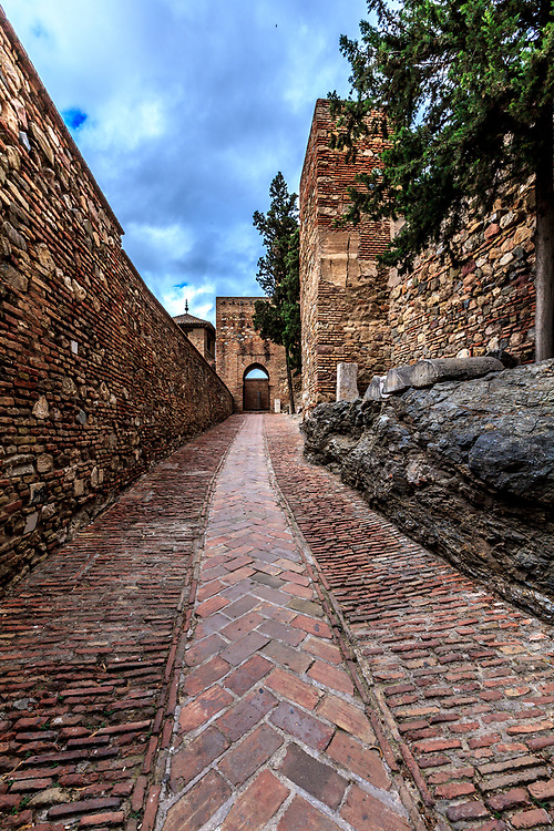 La Puerta de la Bóveda, Gate of the Vault in the Alcazaba of Málaga in Malaga, Spain. The Alcazaba of Málaga is the best-preserved Moorish fortress-palace in Malaga, Spain.