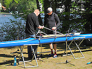 Berlin-Grünau. GERMANY.  GV's. General Views.  Masters single rigging his boat to compete at the Frühregatta,  Saturday 30/04/2011 [Mandatory Credit; Peter Spurrier/Intersport-images]