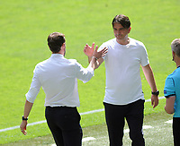 Football - 2021 EUFA European Championships - Finals - Group D - England vs Croatia, Wembley Stadium<br /> <br /> England manager, Gareth Southgate consoles Croatia manager Zlatko Dalic at the final whistle<br /> <br /> Credit : COLORSPORT/Andrew Cowie