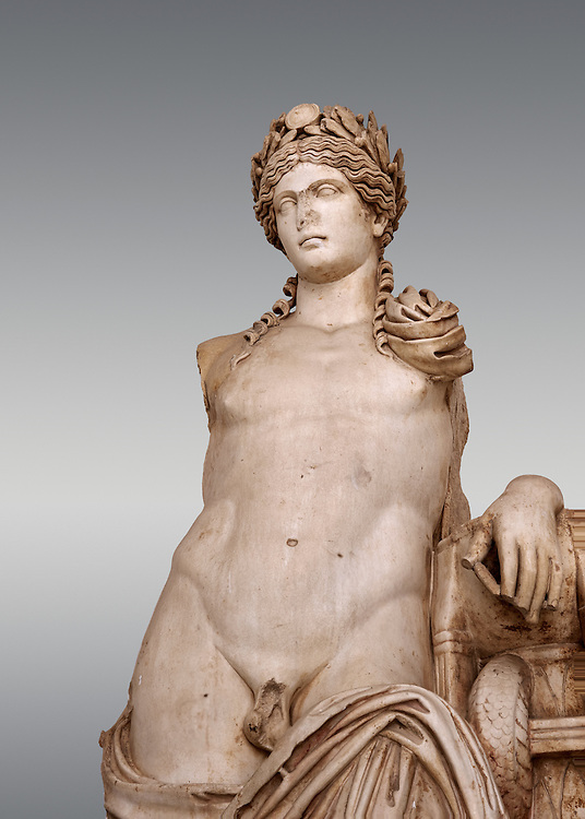 Detail of a second Century Roman statue of Apollo excavated from the Theatre of Carthage. The Bardo National Museum, Tunis, Tunisia. Inv No C939. v .<br /> <br /> If you prefer to buy from our ALAMY STOCK LIBRARY page at https://www.alamy.com/portfolio/paul-williams-funkystock/greco-roman-sculptures.html . Type -    BARDO    - into LOWER SEARCH WITHIN GALLERY box - Refine search by adding a subject, place, background colour, museum etc.<br /> <br /> Visit our CLASSICAL WORLD HISTORIC SITES PHOTO COLLECTIONS for more photos to download or buy as wall art prints https://funkystock.photoshelter.com/gallery-collection/The-Romans-Art-Artefacts-Antiquities-Historic-Sites-Pictures-Images/C0000r2uLJJo9_s0c