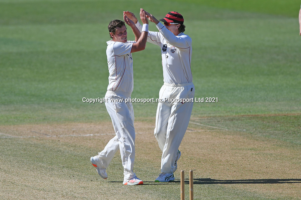 Canterbury's Edward Nuttall (left) celebrates a wicket in the Plunket Shield Cricket match, Central Districts v Canterbury, McLean Park, Napier, Tuesday, April 06, 2021. Copyright photo: Kerry Marshall / www.photosport.nz