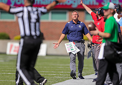 Oct 9, 2021; Huntington, West Virginia, USA; Old Dominion Monarchs head coach Ricky Rahne reacts to a call during the first quarter against the Marshall Thundering Herd at Joan C. Edwards Stadium. Mandatory Credit: Ben Queen-USA TODAY Sports