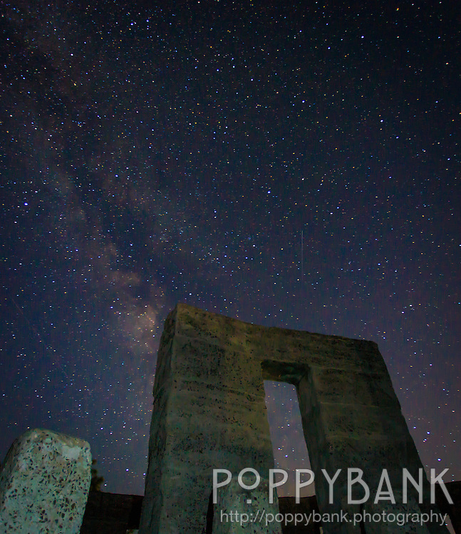 The Milky Way stretches across the night sky over Maryhill Stonehenge -- a full-size astronomically-aligned replica of Stonehenge