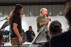 Michael Lichter introducing custom builder Brad Gregory at the Old Iron - Young Blood exhibition media and industry reception in the Motorcycles as Art gallery at the Buffalo Chip during the annual Sturgis Black Hills Motorcycle Rally. Sturgis, SD. USA. Sunday August 6, 2017. Photography ©2017 Michael Lichter.