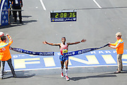 April 21, 2014 - Boston, Massachusetts, U.S. - <br /> <br /> Boston Marathon 2014<br /> <br /> Meb Keflezighi of USA places first in the 2014 Boston Marathon men's race with a time of 2:08:37 in Boston, Massachusetts. <br /> ©Exclusivepix