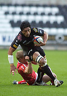 EDF Energy Cup - Ospreys v Worcester at the Liberty Stadium..Osprey's Filo TiaTia is caught..