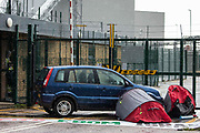 Two Palestine Action activists in small tents are locked onto a vehicle to block an entrance to the Instro Precision factory in Discovery Park on 4th October 2021 in Sandwich, United Kingdom. Instro Precision is a subsidiary of Israels largest publicly-traded arms company Elbit Systems supplying high precision military equipment and Palestine Action contends that Instro Precision equipment has been used by the Israeli military against the population of Gaza.