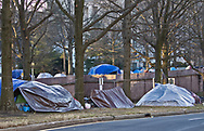 Homeless tent encampment in Washington D.C. in January, 2021 near the metal fenced off area reffered to as the Green ZOne in the days before Biden's inuguration.