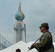 Elite corps of Salvadoran military secure the Plaza Salvador Del Mundo as El Salvador prepares for the beatification ceremony and mass announcing the beatification of Archbishop Oscar Romero. The Archbishop was slain at the alter of his Church of the Divine Providence by a right wing gunman in 1980. Oscar Arnulfo Romero y Galdamez became the fourth Archbishop of San Salvador, succeeding Luis Chavez, and spoke out against poverty, social injustice, assassinations and torture. Romero was assassinated while offering Mass on March 24, 1980.