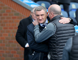 Wigan's manager Paul Cook with Blackburn Rovers Manager Tony Mowbray