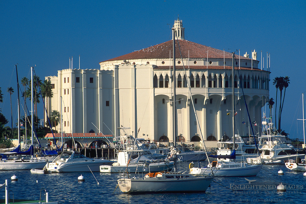 Casino Building and boats docked at Avalon Harbor, Avalon, Catalina Island, California