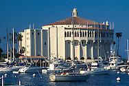 Casino Building and boats docked at Avalon Harbor, Avalon, Catalina Island, California